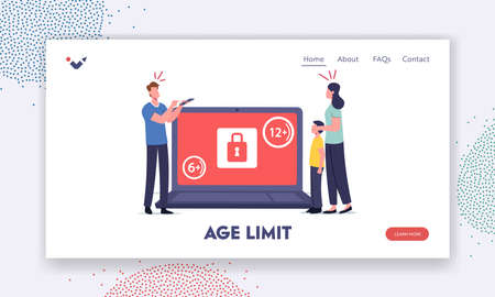 Age Restriction Notification Landing Page Template. Tiny Mother Cover Eyes of Son at Huge Laptop with Adult Content