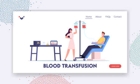 Blood Donation. Male Character Donate Blood for Diseased People Landing Page Template. Nurse Take Lifeblood to Container