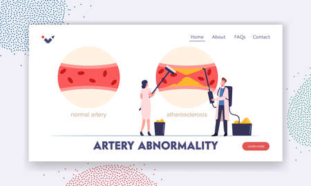 Atherosclerosis Infographic with Normal and Diseased Blood Vessel Landing Page Template. Tiny Medics Cleaning Artery Vettoriali