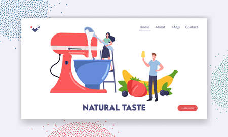 Home Made Icecream.Landing Page Template. Tiny Characters Cooking Homemade Ice Cream with Fruits and Berries Using Mixer