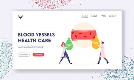 Blood Vessel Health Care Landing Page Template. Tiny Medic Characters at Huge Blood Artery Holding Good and Bad HDL Drop