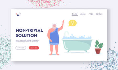 Archimedes Character Say Eureka in Bath Landing Page Template. Idea, Insight of Genius Mathematician Inventor Discovery Vettoriali