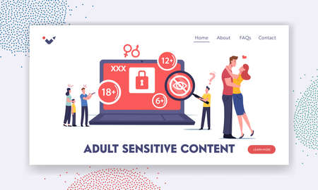 Adult Sensitive Content Landing Page Template. Tiny Characters at Huge Laptop Watching Erotic Video. Age Restriction Vettoriali