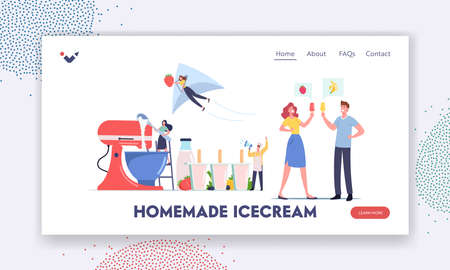 Home Made Ice cream Landing Page Template. Tiny Characters Cooking Homemade Ice Cream Using Huge Mixer and Molds