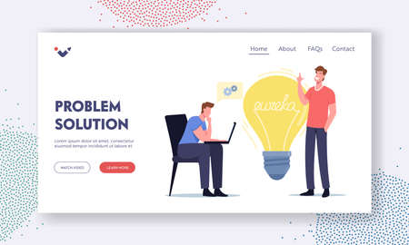People Brainstorm Searching Solution Landing Page Template. Eureka Concept. Businessmen Colleagues Character with Laptop