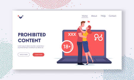 Xxx Movie Entertainment Landing Page Template. Adult Sensitive Content. Tiny Characters Kiss at Huge Laptop, Erotic Video Vettoriali