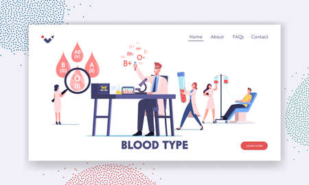 Tiny Medic Characters Working Laboratory Examining Blood Types Landing Page Template. Nurse Taking Lifeblood at Donor