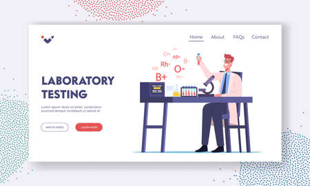 Medic Testing Lifeblood in Glass Flasks in Lab Landing Page Template. Happy Doctor Character Work in Medical Laboratory