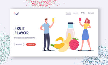 Homemade Ice cream Landing Page Template. Tiny Characters with Fruit Ice Cream   at Huge Yoghurt Bottle and Fruits Vettoriali