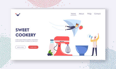 Homemade Ice Cream Landing Page Template. Tiny Male Character in Toque Yell to Megaphone Call to Try Ice Cream of Fruits