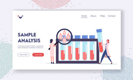 Blood Type Test Expertise Landing Page Template. Tiny Doctor Characters at Huge Glass Flasks Examining Lifeblood
