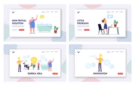 Tiny Characters around Huge Light Bulb Searching Idea Landing Page Template Set. Business Team Search Insight Project Vettoriali