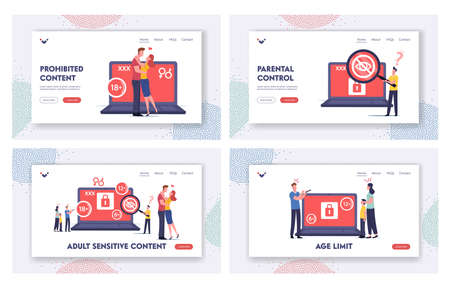 Adult Sensitive Content Landing Page Template Set. Tiny Characters at Laptop Watching Erotic Video. Age Restriction, Xxx