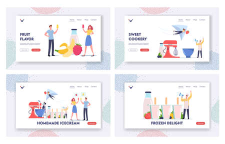 Home Made Ice cream Landing Page Template Set. Tiny Characters Cooking Homemade Ice Cream Using Huge Mixer Vettoriali