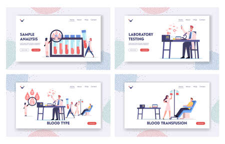 Tiny Medic Characters Working Laboratory Examining Blood Types Landing Page Template Set. Nurse Taking Donor Lifeblood
