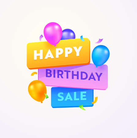 Happy Birthday Sale Advertising Banner with Typography and Colorful Balloons on White Background. Special Anniversary Offer