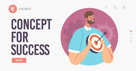Concept for Success Landing Page Template. Character with Aim in Hands, Successful Business Man Hold Target with Arrow
