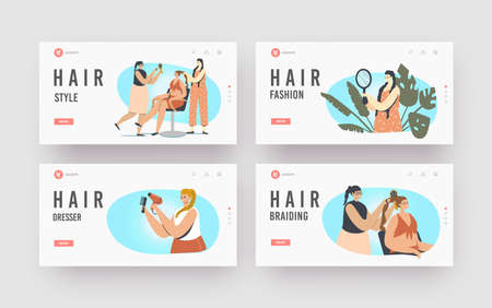 Braiding, Hair Styling Landing Page Template Set. Females Visit Beauty Salon Making Hairstyle. Master Braid Client Vecteurs