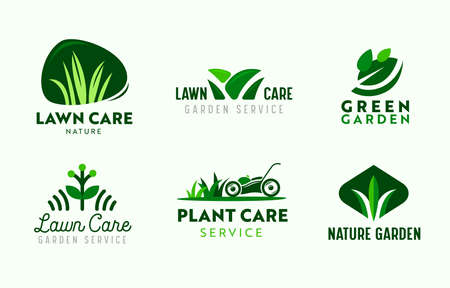 Set of Logo Garden and Lawn Care Service. Gardening Company Icons, Plants Care, Lawn Mower in Park, Nature Eco Village