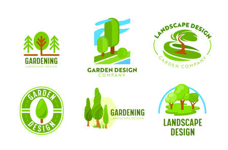 Set of Logo Garden Landscape Design. Gardening, Green Landscaping Company Icons. Tree Park, Nature Woodland and Parkland