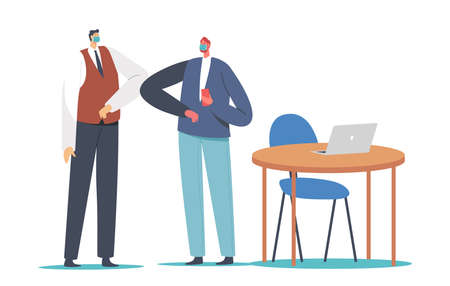 Business Adapting, Characters Greeting Each Other with Elbows Instead of Handshake. Colleagues Alternative Covid Greet