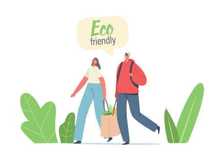 Couple of Adult Man and Woman Characters Carry Products in Paper Eco Friendly Bag. Bio Degradable Package, Natural Pack