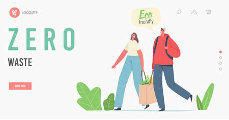 Zero Waste Landing Page Template. Characters Carry Products in Paper Eco Friendly Bag. Bio Degradable Natural Package