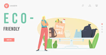Eco Pack Landing Page Template. Thoughtful Tiny Female Character Stand at Huge Scales with Plastic and Eco Friendly Bags