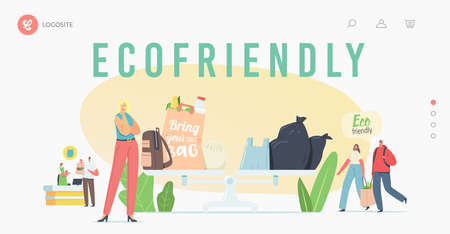 People Visit Shop with Reusable Eco Bags and Packs Landing Page Template. Characters Use Ecological Packing for Shopping