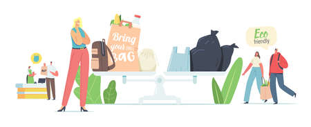 People Visit Shop with Reusable Eco Bags and Packaging. Male and Female Characters Use Ecological Packing for Shopping