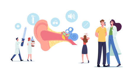 Ear Pain, Tinnitus, Otitis, Concept. Tiny Male and Female Characters Doctors and Patients at Huge Human Ear Anatomy View