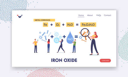 Metal Corrosion Landing Page Template. Tiny Characters at Huge Formula of Chemical Reaction of Rust. Oxide Rusty Coating Vector Illustration