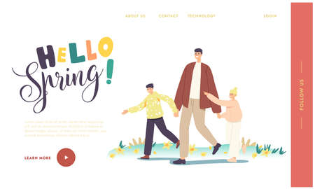 Hello Spring Landing Page Template. Happy Family Characters Walking, Father Holding Kids Hands Spend Time Together Illusztráció