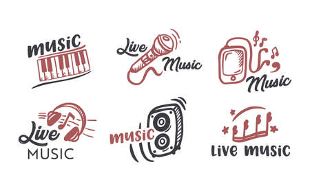 Live Music Lettering Isolated on White Background, Black Text Font Typography with Brown Design Elements Headphones