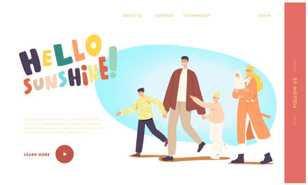 Family Walk Landing Page Template. Characters Walking at Spring Park. Father, Mother with Baby, Son and Daughter Leisure