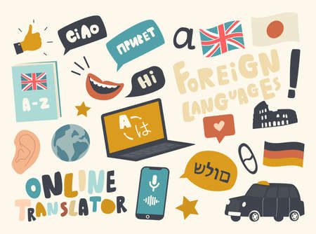 Set of Icons Foreign Language Translation Service Theme. Laptop, Country Flags, Taxi Car and Smiling Mouth, Mobile Phone Illusztráció
