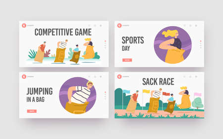 Sack Race Landing Page Template Set. Family Characters Mother, Father and Children Jumping in Bags. Summer Competition