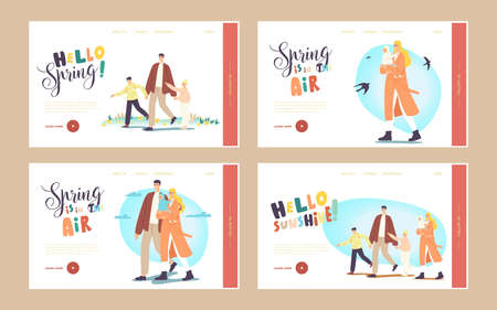 Family Walk Landing Page Template Set. Characters Walking at Spring Park. Father, Mother with Baby, Son and Daughter