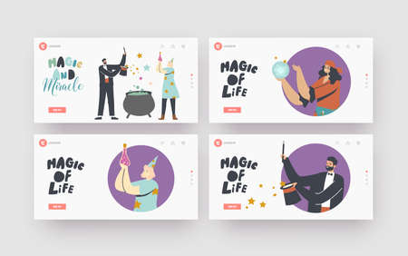 Magic Show Landing Page Template Set. Circus Magician Characters Perform Tricks with Top Hat, Crystal Ball and Cauldron