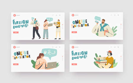 People Study Foreign Languages Landing Page Template Set. Characters Use Online Translator and Translation Services Illusztráció