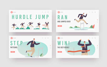 Hurdle Jump Landing Page Template Set. Business Man Character Running with Obstacles Competition. Businessman Challenge Illusztráció