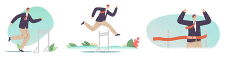 Hurdle Jump, Obstacles Running Competition, Leadership, Sport Challenge, Leader Chase. Businessman Jumping over Barriers