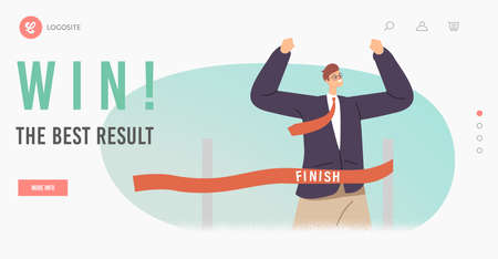 Win the Best Results Landing Page Template. Cheerful Business Man Crossing Finish Line of Hurdle Jump Racing Track