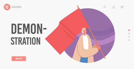 Woman with Red Flag on Revolution, Rally Demonstration, Strike Landing Page Template. Female Character with Pennant