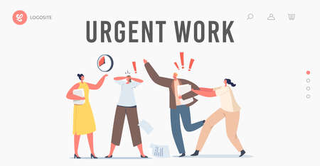 Urgent Work Landing Page Template. Anxious Business Characters in Chaos Office. Deadline, Running Stressed Workers