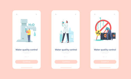 Water Quality Control Mobile App Page Onboard Screen Template. Characters Check Aqua, Scientist Look in Test Tube