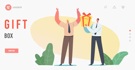 Congratulation Landing Page Template. Businessman Character Giving Wrapped Gift Box to Cheerful Colleague for Birthday