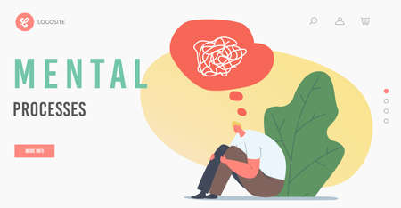 Mental Processes Landing Page Template. Depressed Unhappy Man Sit on Floor with Tangled Thoughts in Head. Depression