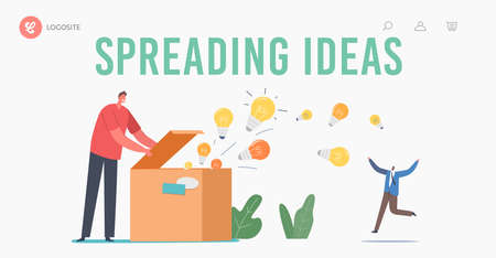 Knowledge and Ideas Spreading, Education, Insight Landing Page Template. Man Open Huge Box with Light Bulbs Flying Out