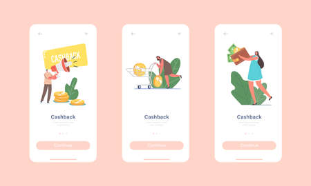 Cash Back Mobile App Page Onboard Screen Template. Cashback Service, Happy Characters Get Money Refund for Shopping Illusztráció